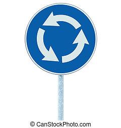 blu, isolato, segno, traffico, rotonda, bianco, incrocio, strada