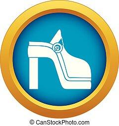 blu, isolato, vettore, scarpa, icona, donne