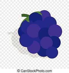 blu, isometrico, icona, uva, mazzo