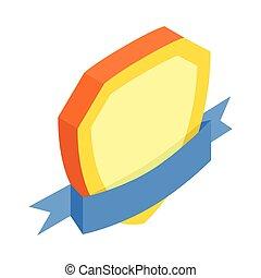 blu, isometrico, scudo, oro, 3d, nastro, icona