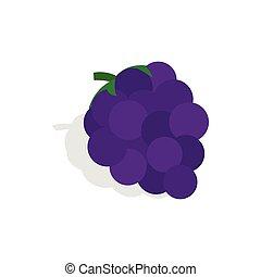 blu, isometrico, stile, uva, icona, mazzo, 3d