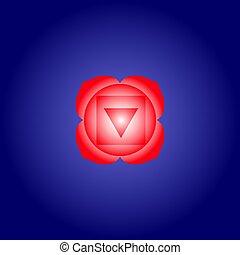 blu, isoteric, eps10, muladhara, spazio, colorare, pattern., appartamento, scuro, fondo., vettore, illustrazione, chakra, icon., radice, geometrico, rosso