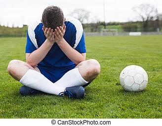 blu, joueur, football, décue