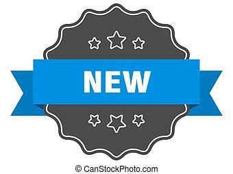 blu, label., nuovo, seal., isolato
