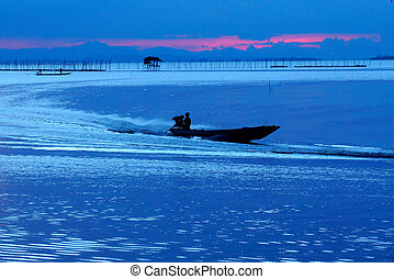 blu, lago