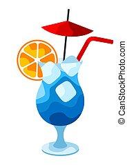 blu, laguna, cocktail, illustration.
