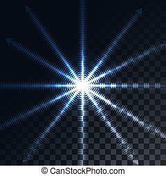 blu, lampo, checkered, stella, energia, squares., illustrazione, scuro, ardendo, vettore, nero, raggio sole, fondo, evidenziato, raggi, trasparente, traslucido