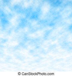 blu, lanuginoso, cielo