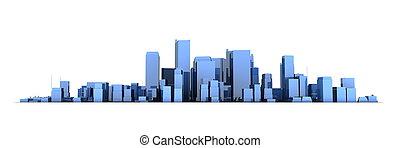 blu, largo, città, -, fondo, cityscape, modello, baluginante, bianco, 3d