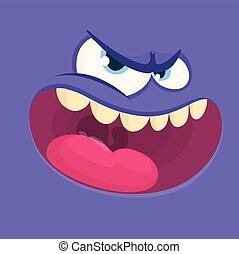 blu, largo, mostro, face., halloween, vettore, avatar, sorriso, cartone animato