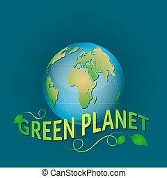 blu, leaves., illustrazione, pianeta, sfondo verde