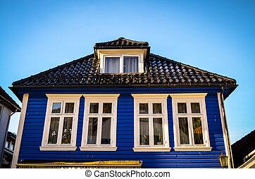 blu, legno, bergen, norvegia, casa