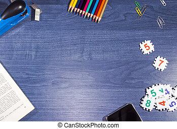blu, legno, oggetti, ufficio, tavola