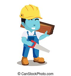 blu, legno, uomo tuttofare, seghetto, presa a terra