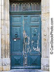 blu, legno, vecchio, porta