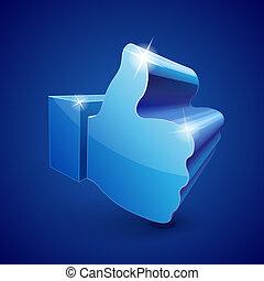 "blu, ""like"", simbolo, fondo"