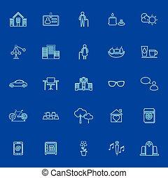 blu, linea, comunità pensione, icone