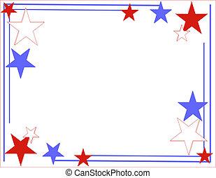 blu, linee bianche, stelle, rosso