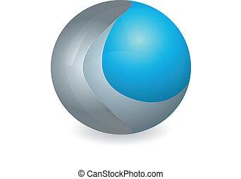 blu, logotipo, argento, 3d