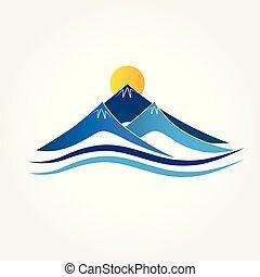 blu, logotipo, montagne