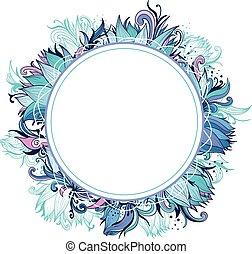 blu, loto, cornice, floreale, inverno