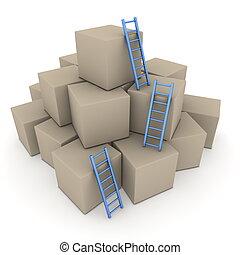 blu, -, lotto, su, scale, scatole, lucido, arrampicarsi