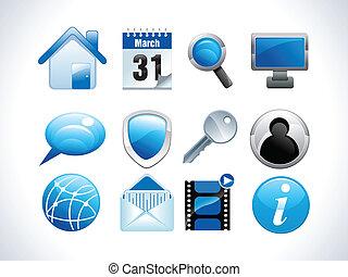 blu, lucido, icone fotoricettore, vettore, illust