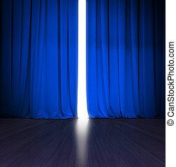 blu, luminoso, teatro, leggermente, scena, dietro, legno, luce, tenda, aperto, o, palcoscenico