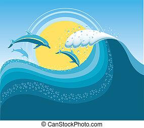 blu, maglia, mare, delfini, wave., seascape., vettore, cartoni animati