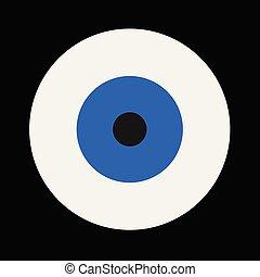 blu, malocchio, vettore, su, sfondo nero