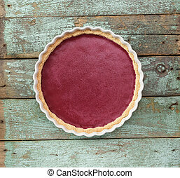 blu, malvestito, copyspace, sano, dessert., torta, scandinavo, legno, fondo, aperto, lingonbery