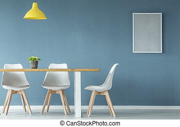 blu, manifesto, stanza, cenando