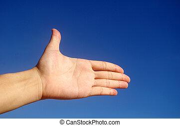 blu, mano, cielo, dare, sotto
