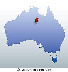blu, mappa, australia, rosso, perno