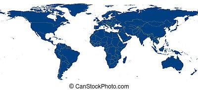blu, mappa, di, terra pianeta