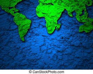 blu, mappa, grunge, 2, terra verde