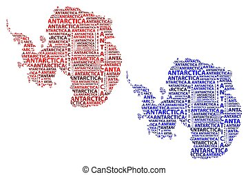 blu, mappa, -, illustrazione, antartide, vettore, continente, rosso
