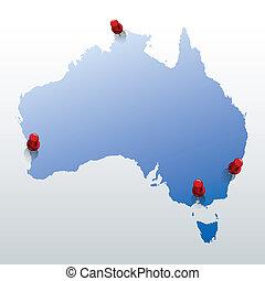 blu, mappa, piolini, australia, rosso