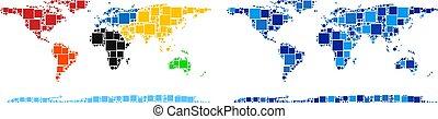 blu, mappa, punteggiato, variante, mondo, continente