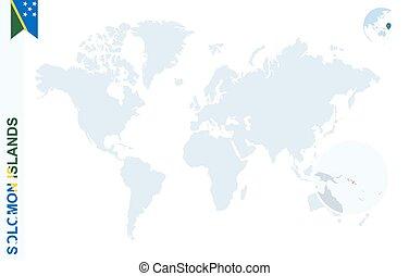 blu, mappa, solomon, mondo, islands., ingrandendo