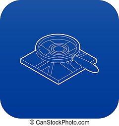 blu, mappa, sopra, vetro, vettore, ingrandendo, icona