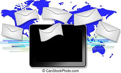 blu, mappa, tavoletta, simboli, sfondo nero, mondo, email