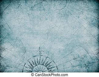 blu, mappa, vecchio, medievale, fondo, nautico