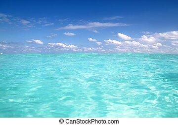 blu, mare caraibico, acqua, onda, orizzonte