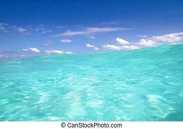 blu, mare caraibico, onda, acqua, orizzonte