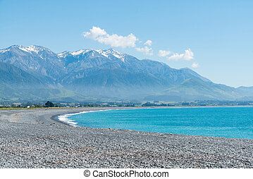 blu, mare, spiaggia, curvo, kaikoura, costa est, nuova zelanda