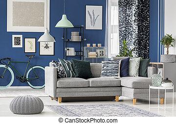 blu marino, disegno, stanza, vivente