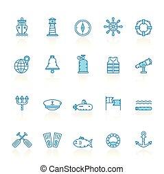 blu, marino, navigazione, icone, fondo, linea, marina, mare