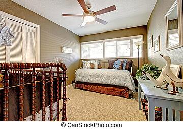 blu, marrone, bambini, bed., vivaio, interno