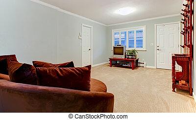 blu, marrone, stanza, tv, divano, grande
